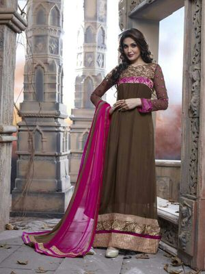 Brown and Pink Long Semi Stitched Salwar Suit