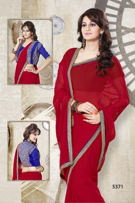RED ELEGANT SAREE WITH STITCHED BLOUSE