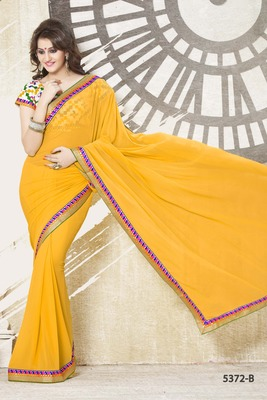 YELLOW COLOR SAREE WITH STITCHED BLOUSE