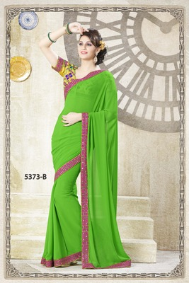 GREEN SAREE WITH HEAVY BLOUSE