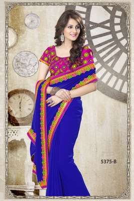 BLUE PARTY WEAR SAREE WITH STITCHED BLOUSE