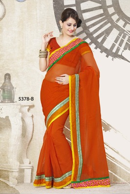 ORANGE PARTY WEAR SAREE