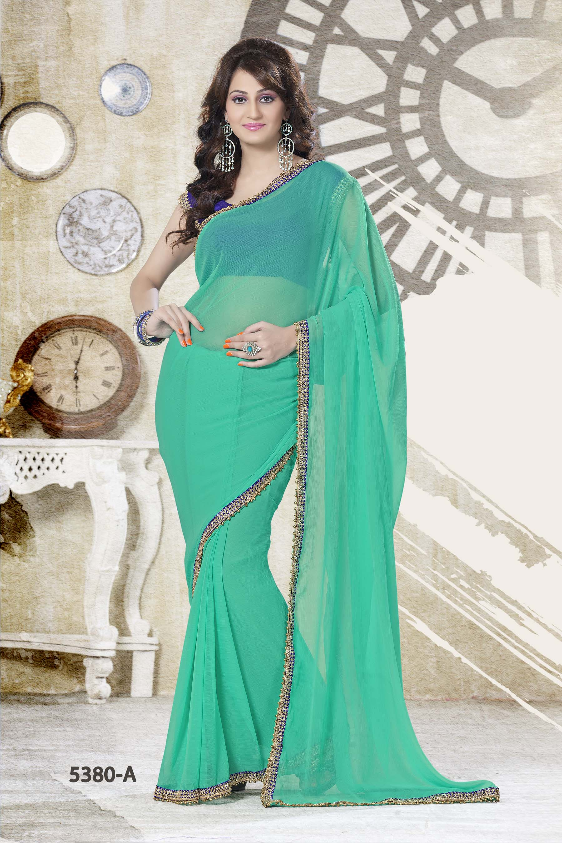 ca52d0885a PLAIN SEA GREEN SAREE WITH CONTRAST BLOUSE - FASHION ERA - 279852