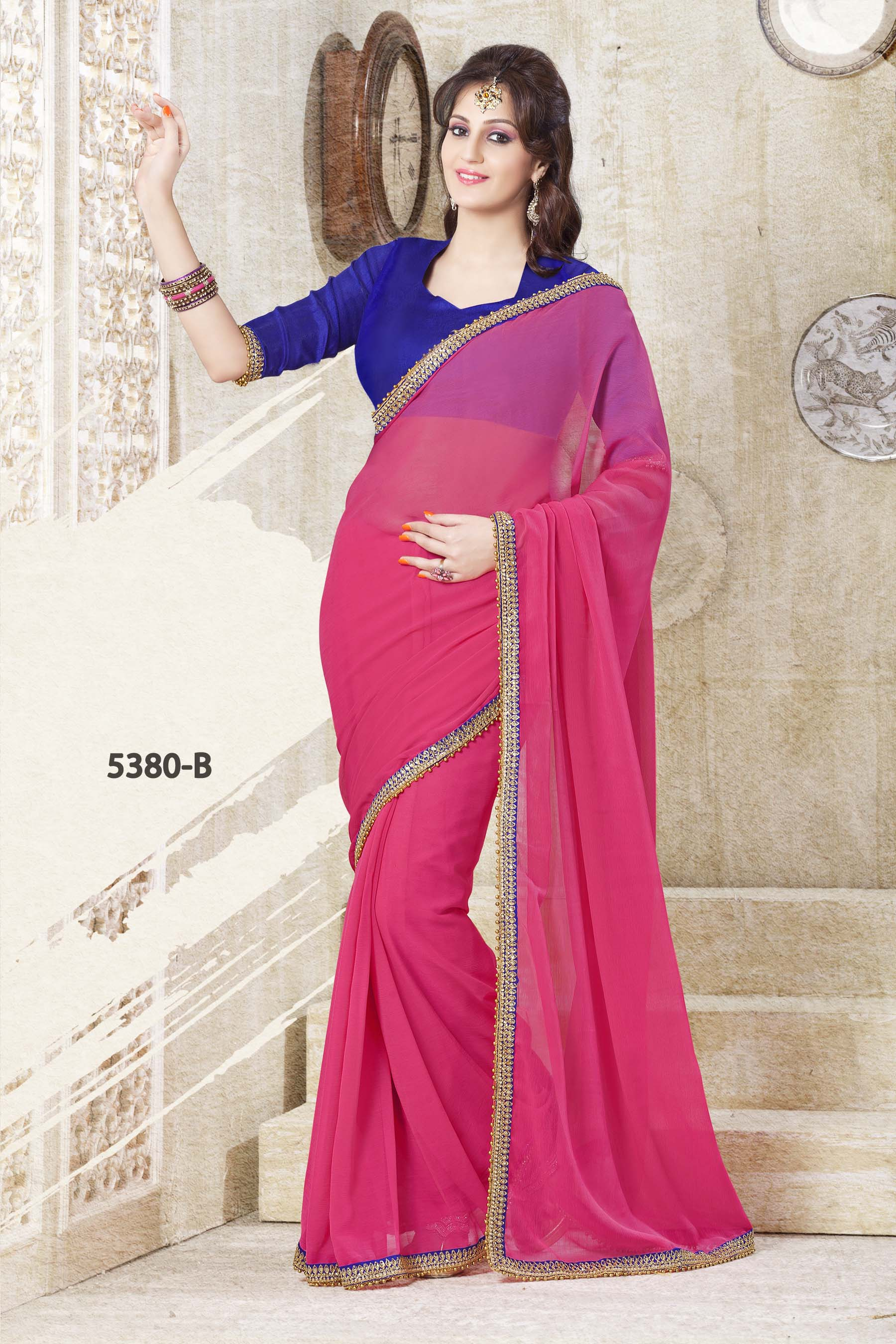 d086ad9659343 PINK PLAIN SAREE WITH CONTRAST BLOUSE - FASHION ERA - 279853