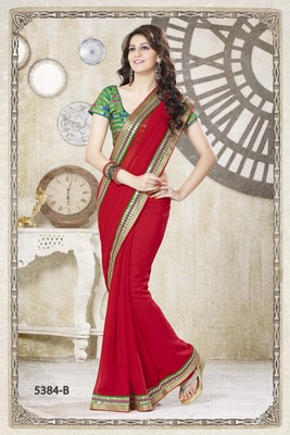LIGHT RED DOUBLE BORDER SAREE WITH EMBROIDERY BLOUSE