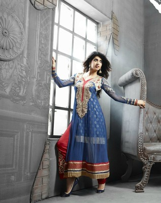 Blue Embroidery Net Semi Stitched Designer Anarkali Suit
