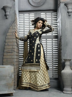 Black and Baige Embroidery Pure Georgette Semi Stitched Designer Anarkali Suit