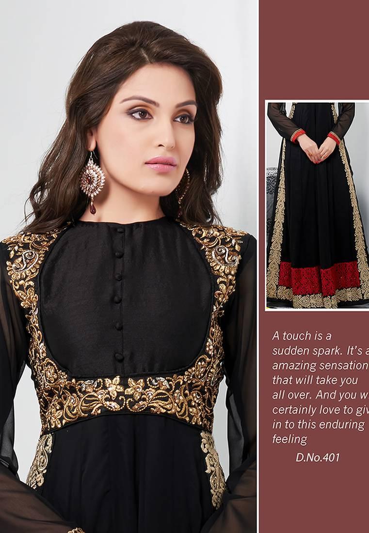 afaadf39e0 Glamorous black color full length georgette anarkali suit santoon inner  with chiffon dupatta ...