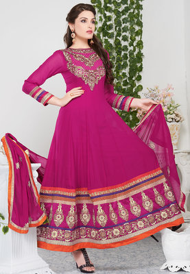 Beautiful deep pink color grorgette designer anarkali santoon inner with chiffon dupatta