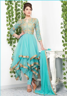 Passion sky blue color gold lace and embroidered net designer anarkali suit santoon inner with chiffon dupatta