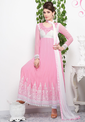1f02964d2d Fabulous light pink color georgette and white crosia laces anarkali suit  santoon inner with chiffon dupatta - Dani Fashions - 279879