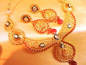 Ruby Royal Gold Plated Necklace Set