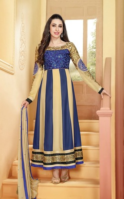 Cream and Blue Embroidery Pure Georgette Semi Stitched Designer Anarkali Suit