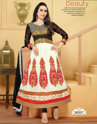 White and Black Embroidery Pure Georgette Semi Stitched Designer Anarkali Suit