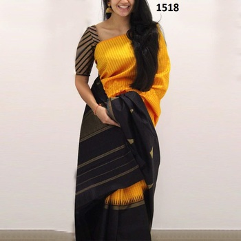 Yellow printed silk saree with blouse