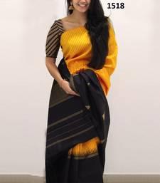 Buy Yellow printed silk saree with blouse printed-saree online