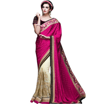 Rani and cream embroidery viscose silk & soft net Half N Half wedding saree with blouse