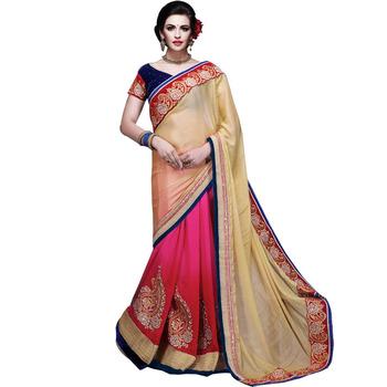 Chiku and pink & red georgette Half N Half pattern designer saree with blouse