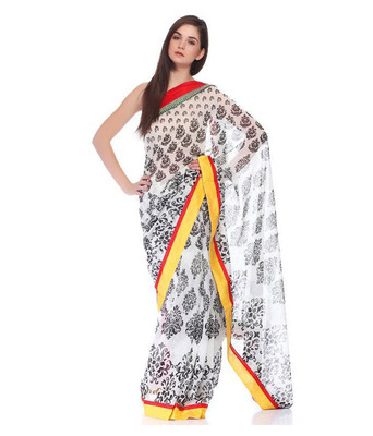 Black and white color georgette full saree with blouse