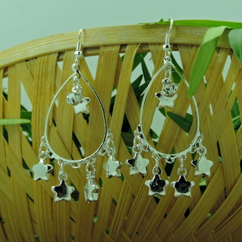 Multiple Star Drop Small Silver Earring