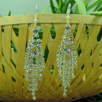 Awesome Latest Silver Crystal String Drop Earring
