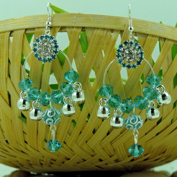 Silver Roung Copper Green Crystal Bali Earring