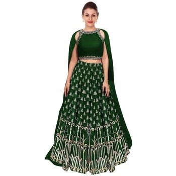 8852ddb2c53a4 Green embroidered raw silk semi stitched lehenga choli material with  matching dupatta - Rozy Fashion - 2106261