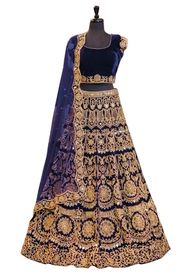 5c0d44321 Navy blue embroidered velvet semi stitched lehenga with dupatta - Fabron -  2106262