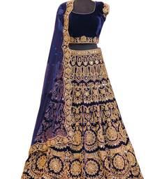 Buy Navy blue embroidered velvet semi stitched lehenga with dupatta lehenga-choli online