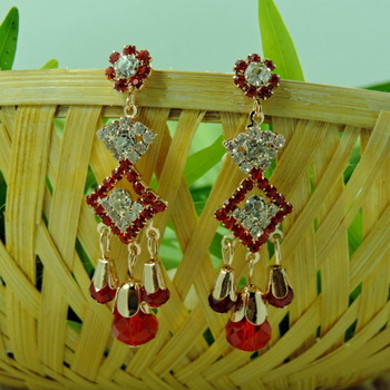 Red Color Crystal Studded Designer Earring