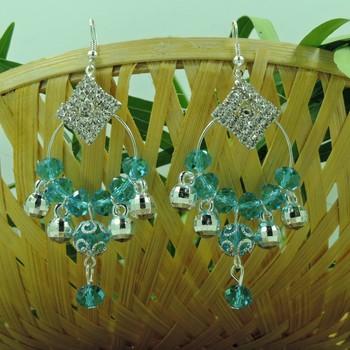 Square Shape Aqua Crystal Studded Earring
