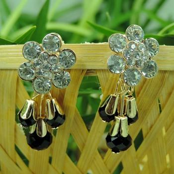 Flower Shape Black Crystal Drop Earring