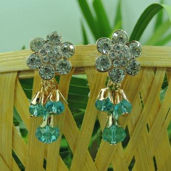 Flower Shape Aqua Crystal Drop Earring