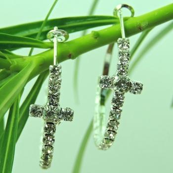 Cross Shape Silver Crystal String Bali