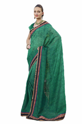 Beautiful Designer Saree in a Hand prints Smita Silk Fabric With Beautiful Embroidery Border Work