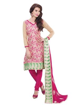 Fawn & Pink unstitched churidar kameez with dupatta-Belaa-48001