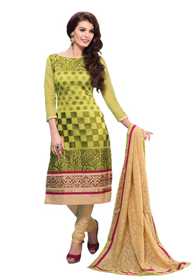Parrot Green & Fawn unstitched churidar kameez with dupatta-Belaa-48005