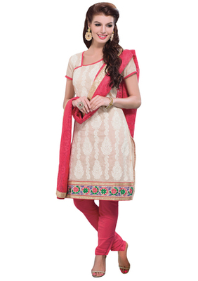 Fawn & Pink unstitched churidar kameez with dupatta-Belaa-48007
