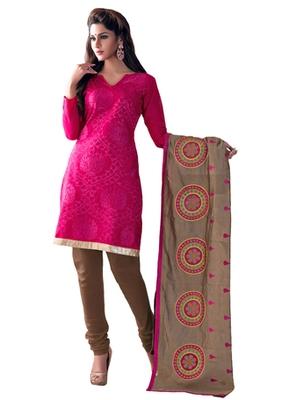 Pink & Beige unstitched churidar kameez with dupatta-Lashk-46006