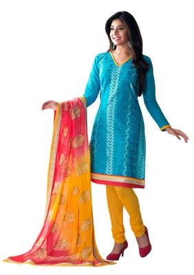 Blue & Yellow unstitched churidar kameez with dupatta-Lashk-46007