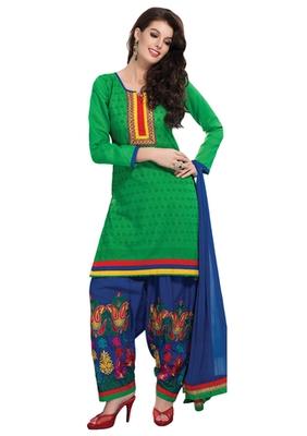 Green & Blue unstitched churidar kameez with dupatta-Maskaa-47001