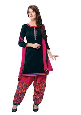 Black & Pink unstitched churidar kameez with dupatta-Maskaa-47003