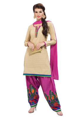 Fawn & Pink unstitched churidar kameez with dupatta-Maskaa-47009