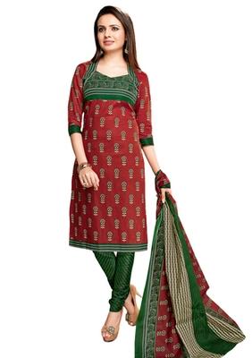 Brown & Green unstitched churidar kameez with dupatta-VN-751