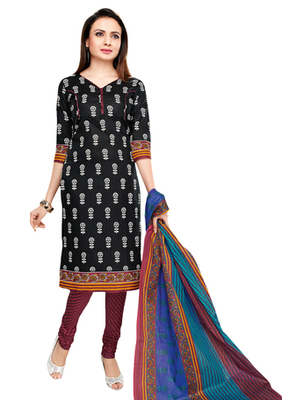 Black & Maroon unstitched churidar kameez with dupatta-VN-752
