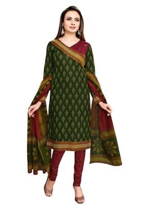 Green & Red unstitched churidar kameez with dupatta-VN-756