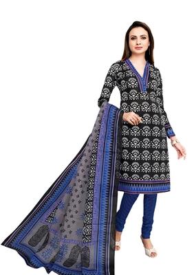 Black & Blue unstitched churidar kameez with dupatta-VN-759
