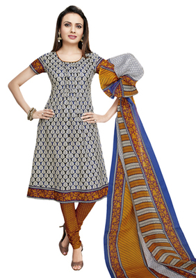 White & Mustard unstitched churidar kameez with dupatta-VN-766