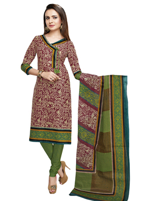 Brown & Green unstitched churidar kameez with dupatta-VN-768