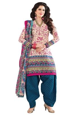 Pink & Blue unstitched churidar kameez with dupatta-KO-4605